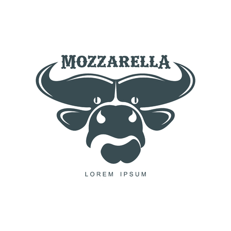 Buffalo mozzarella italian cheese brand, logo design icon pictrogram silhouette. Horned bull head front view. illustration with mozzarela inscription. Isolated flat illustration on a white background. Illustration