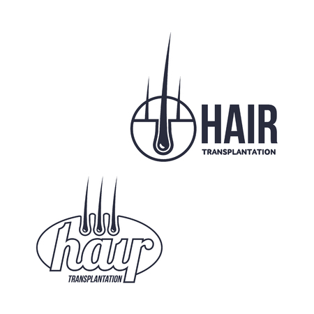 Hair follicle in hair bulb with human skin, dermis. Medical folicle transplantation company logo, brand icon pictogram design set. Vector flat silhouette illustration isolated on a white background. Ilustrace