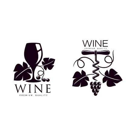와인 코르크 스크류, 나뭇잎, 잘 익은 포도 나뭇 가지와 포도 나무로 장식 와인 한 잔. 우아한 회사 로고, 브랜드 아이콘 디자인. 흰색 배경에 고립 된