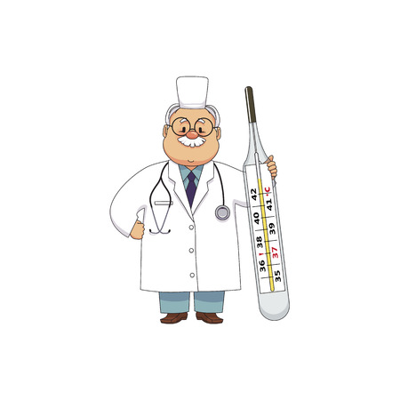 vector flat cartoon adult male doctor, physician or nurse in white medical clothing with beard, keeping huge big thermometer smiling. Isolated illustration on a white background.