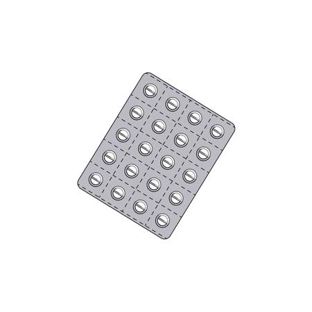 Vectorblaar met vlakke pillen. Illustratie op een witte achtergrond wordt geïsoleerd die. Koud en griep behandeling concept, medicijnen en drugs. Cartoon ziekte therapie hulpmiddelen Stockfoto - 86924366