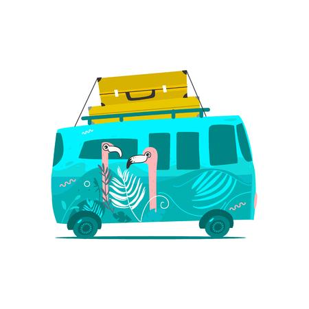 ベクトル フラット漫画ビンテージ ヒッピー ミニバン車の屋根に大きな袋。ピンク フラミンゴ プリント グリーン車。道路の旅、旅行のコンセプト  イラスト・ベクター素材
