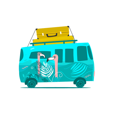 vector flat cartoon vintage hippie minivan vehicle with big bags at its roof. Green car with pink flamingos print. Road trip, travelling concept. Isolated illustration on a white background. Иллюстрация