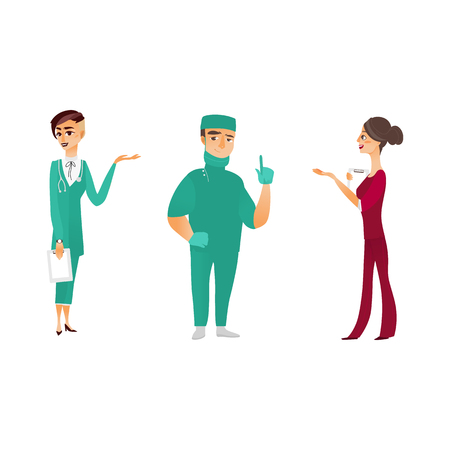vector flat cartoon adult male, female doctors, head physician, nurse in medical clothing holding clipboard.