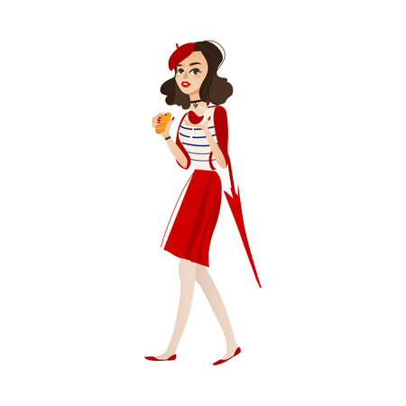 vector flat cartoon young woman in red felt beret, skirt holding umbrella, glass of wine and croissant.