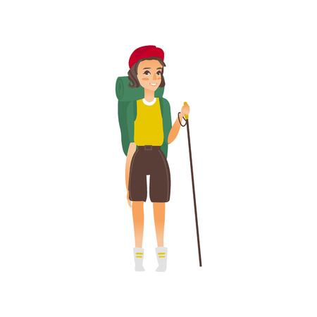vecteur plat dessin animé belle jeune fille tourisme de randonnée souriant portant sac à dos, montres cap bâton de bâton de trekking.