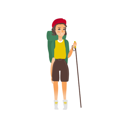 vector flat cartoon beautiful young girl hiking tourist smiling wearing backpack, watches cap trekking pole stick.