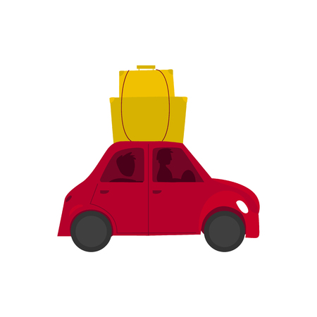 vector flat cartoon style red car with big bags fixed at its roof. Travelling by motor vehicle, road trip concept.