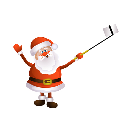 vector cartoon Santa Claus standing in red white clothing and hat making selfie by stick.