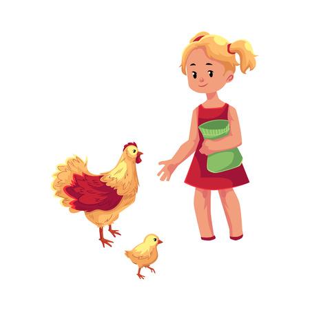 벡터 플랫 만화 어린 십 대 소녀 국내 조류 - 닭 및 병아리 먹이. 농장 개념에서 아이들. 흰색 배경에 고립 된 그림입니다.