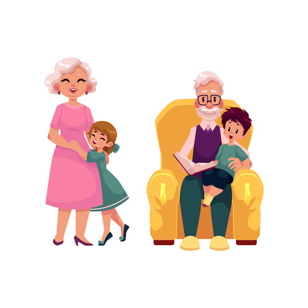 vector flat grandparents and children set. Grandson sitting at grandfathers knees reading book at armchair, grandmother hugging with small girl . Isolated illustration on a white background. Illustration