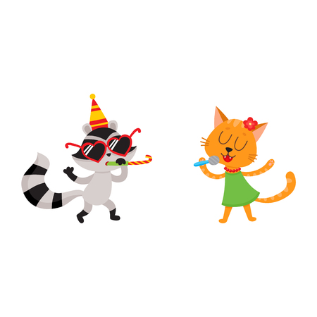 baby playing toy: vector flat cartoon cheerful animals character happily smiling in paty hat set. Cat in dress singing at microphone, raccoon having fun whistling . isolated illustration on a white background.