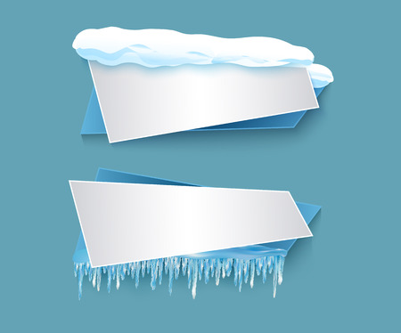 vector cartoon realistic white, blue winter empty banner templates wit snow caps, icicles set. Illustration on grey background with space for your text. Christmas, new year holidays design element Illusztráció