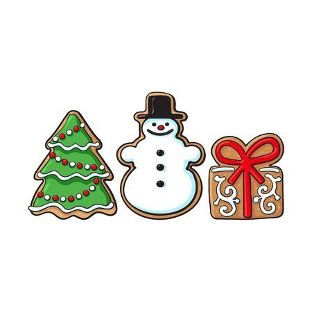 Glazed snowman, Christmas tree, present box gingerbread cookies, sketch vector illustration isolated on white background. Christmas gingerbread cookies in shape of snowman, present box, Xmas tree Imagens - 87270415