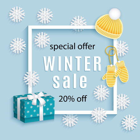vector winter sale poster template. Knitted hat, gloves snowflakes, present boxes - winter symbols Decorated flyer. Illustration on blue background. Banner advertising design