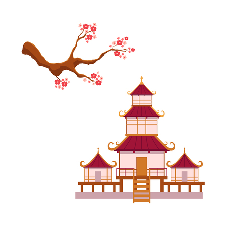 Asian japan china oriental symbols concept set. Blooming sakura branch with flowers, traditional pagoda building temple. Isolated flat vector illustration on a white background Ilustração