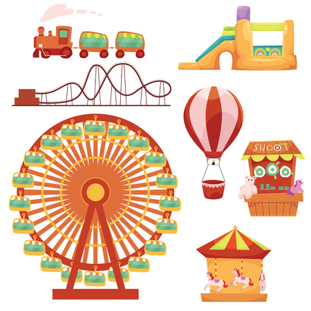 Amusement park set - Ferris wheel, carousel, rollercoaster, train, balloon, bouncy castle, shooting gallery, cartoon vector illustration isolated on white background. Cartoon amusement park elements
