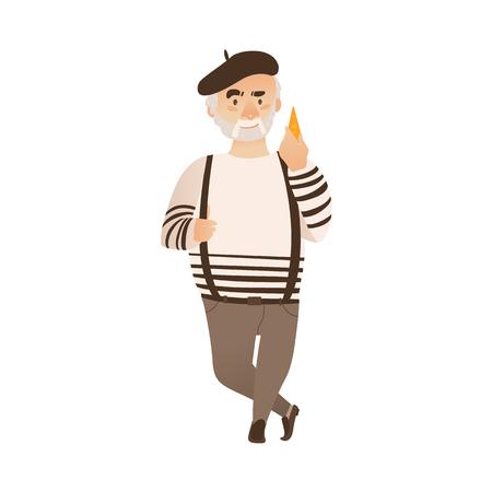 Homme de dessin animé plat vecteur avec moustache grise et barbe tenant fromage portant béret feutre, pantalons sur les bretelles. Portrait d'homme de style parisien français pleine longueur. Illustration isolée ona fond blanc Banque d'images - 87270425