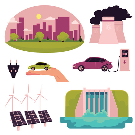 Electric car infographic elements, cartoon vector illustration isolated on white background. Electric car, charging station, ecology conservation, air pollution, solar panels and water turbine concept Illustration