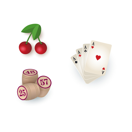 combination: Set of casino, gambling symbols - playing cards, bingo kegs and slot machine cherry sign, vector illustration isolated on white background. Set of gambling, casino symbols - playing cards kegs cherry Illustration