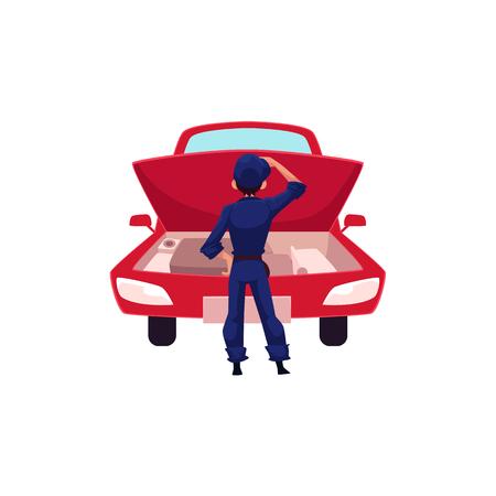 オート メカニック、車サービス ワーカー車エンジンとは、白い背景で隔離のベクトル図を漫画に何を考えて車のエンジンを見て漫画オート メカニ