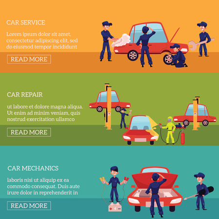 Three horizontal banners with auto mechanics, car service workers fixing, repairing, servicing cars, cartoon vector illustration. Auto mechanics repairing, cleaning, servicing, fixing, painting a car Illusztráció