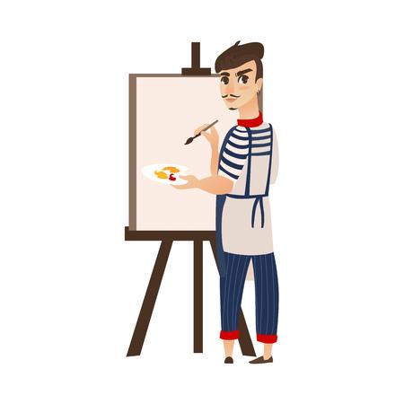 Vecteur peintre d'artiste plat dessin animé homme portant béret, moustache, dessin sur toile de chevalet. Portrait masculin de style parisien français pleine longueur. Illustration isolée ona fond blanc Banque d'images - 87270432