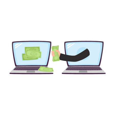 Hacker stealing money using laptop, malicious computer attack concept, cartoon vector illustration isolated on white background. Hacker stealing money, computer attack concept, cartoon illustration Иллюстрация