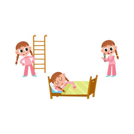 girl sleep: vector flat girl kid doing everyday routine activity set. Child sleeping in bed, brushing teeth, making physical exercises . Isolated illustration on a white background. Illustration