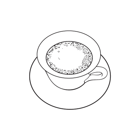 Black and white contour drawing, vector sketch cartoon hand drawn cup of tea on a plate top view. Isolated illustration on a white background. Illustration