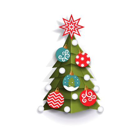 Christmas tree decoration element for Xmas greeting cards, flat style vector illustration isolated on white background, 3d paper cutout design. Flat style Christmas tree, Xmas decoration element