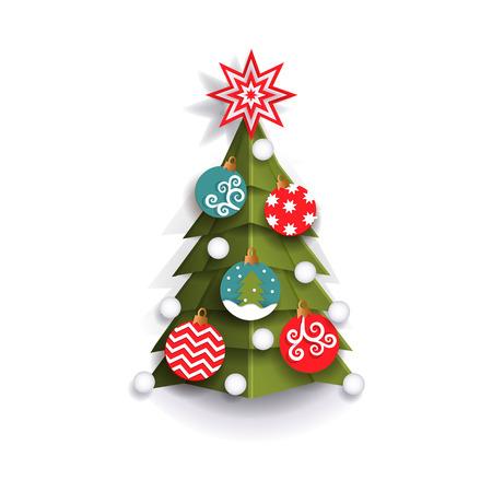 Lément de décoration de sapin de Noël pour cartes de voeux de Noël, illustration de vecteur style plat isolé sur fond blanc, conception de découpe de papier 3d. Arbre de Noël style plat, élément de décoration de Noël Banque d'images - 87270441