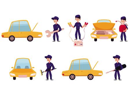 자동차 정비사, 자동차 서비스, 수리 및 유지 관리 워크숍, 흰색 배경에 고립 된 만화 벡터 일러스트 레이 션. 자동 정비공 수리, 기름칠, 자동차 청소,