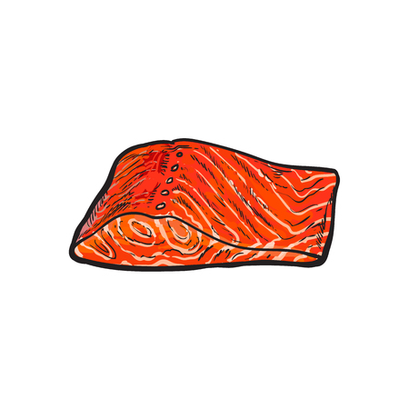 vector sketch cartoon style sea red salmon fish meat fillet steak without skin. Isolated illustration on a white background. Seafood delicacy, restaurant menu decoration design object concept
