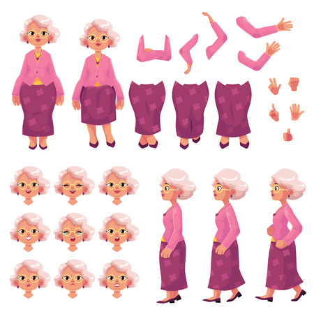 Old, senior woman character creation set with different poses, gestures, emotions, cartoon vector illustration on white background. Animation ready old lady, senior woman creation set, constructor Illustration