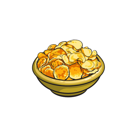 Potato chips in ceramic bowl, hand drawn, sketch style vector illustration isolated on white background. Realistic hand drawn bowl full of crispy potato chips