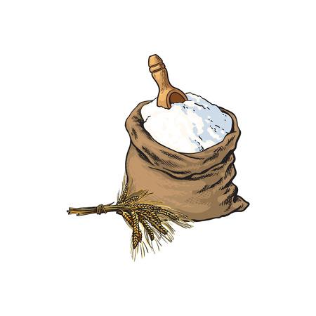 벡터 스케치 만화 통 밀 빵 흰 밀가루 또는 설탕 삼 베 가방 또는 나무 국자, 삽과 밀 귀 자루. 흰색 배경에 고립 된 그림입니다. 베이커리 메뉴, 로고 디