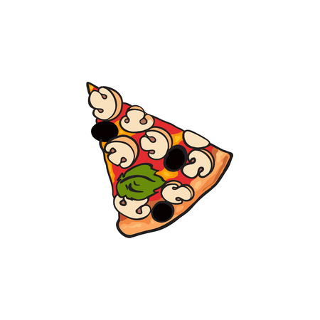 Vector flat pizza slice with pepper, olives champignon mushrooms. Fast food cartoon isolated illustration on a white background. Italian food icon. Restaurant, cafes advertising object Illustration