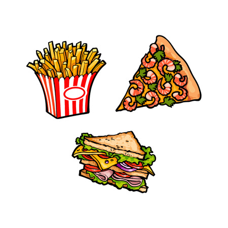 Vector flat pizza slice with shrimps plastic, paper box with potato fry, sandwich with vegetables. Fast food cartoon isolated illustration on a white background.