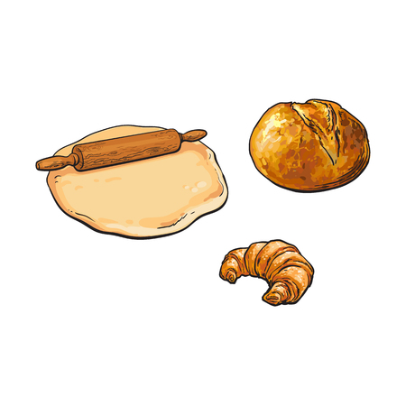 Wooden rolling pin, roller, dough and bakery products - bread and croissant, sketch style vector illustration isolated on white background. Hand drawn wooden rolling pin, dough, bread and croissant