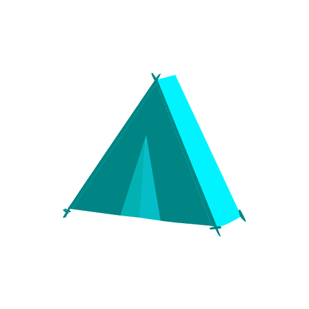 vector flat cartoon green hiking, camping triangle touristic tent ready to use. Isolated illustration on a white background. Travelling, trip attribute concept Illustration