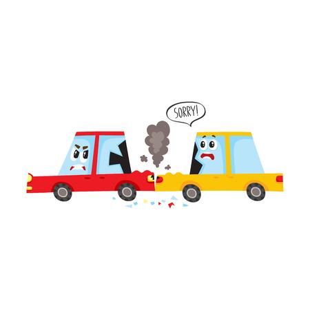 Personnage de voiture de dessin animé plat vecteur avec accident des yeux, accident. Le véhicule jaune s'est écrasé dans le bamper arrière rouge, les deux ont des bosses, des verres cassés, des égratignures. Illustration isolée sur fond blanc Banque d'images - 87270454