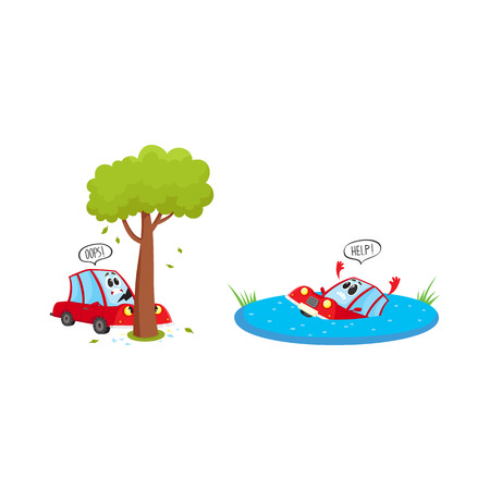 vector flat cartoon stylized drowing car character with face and arms saying help. Vehicle crashed into the tree saying oops set. Isolated illustration on a white background.