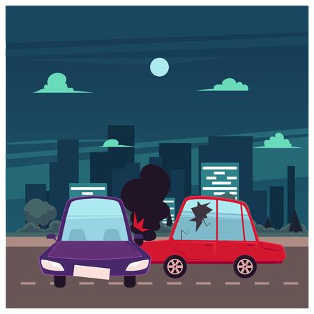 フラット漫画車のクラッシュ、事故現場をベクトルします。1 台の車を失ったそのホイール、へこみ、壊れた眼鏡、傷があります。建物の大きい都市  イラスト・ベクター素材