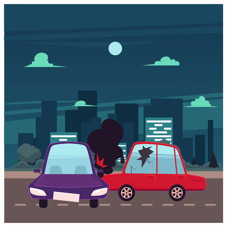 vector flat cartoon car crash, accident scene. One vehicle lost its wheel, and both have dents, broken glasses, scratches. Illustration on the background of big city with buildings Vetores