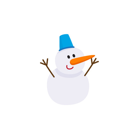 Cute, funny snowman with carrot nose and bucket hat, cartoon vector illustration isolated on white background. Cartoon style snowman - two snowballs, carrot nose and bucket hat Stock Photo
