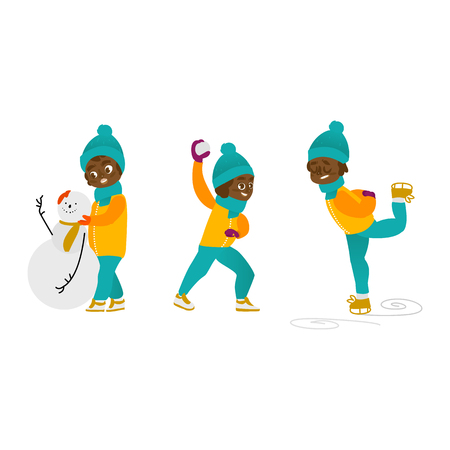 vector boy having fun enjoying riding ice skates, boy making sniwman, boy playing snowballs set. Flat cartoon isolated illustration. Kid enjoy snow outdoors. Winter children activity concept
