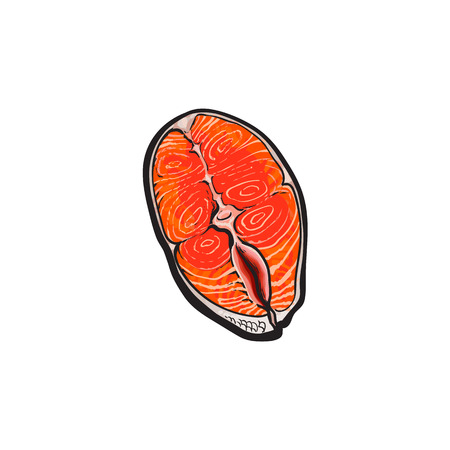 vector sketch cartoon style sea red salmon fish meat fillet steak. Isolated illustration on a white background. Seafood delicacy, restaurant menu decoration design object concept