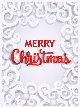 Merry Christmas greeting card template with paper cut out curls, swirls forming a frame, flat style vector illustration. Merry Christmas, Xmas greeting card template with paper cut design Stok Fotoğraf - 87270477