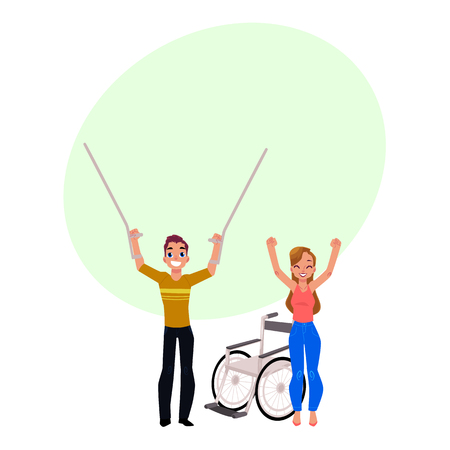 Man and woman saying goodbuy to crutches and wheelchair, medical rehabilitation, cartoon vector illustration with bubble speech. Rehabilitation, recovery, farewell to crutches and wheelchair 版權商用圖片